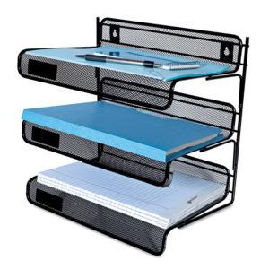 Universal® Deluxe Mesh Three-Tier Desk Shelf