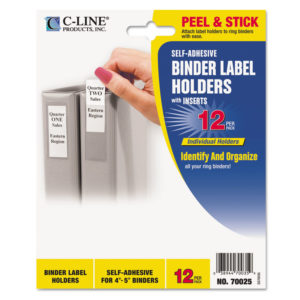 C-Line® Self-Adhesive Binder Label Holders