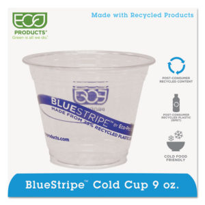 Eco-Products® BlueStripe™ Recycled Content Clear Plastic Cold Drink Cups