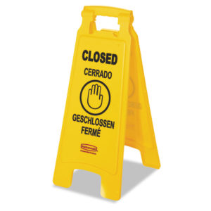 "Rubbermaid® Commercial Multilingual ""Closed"" Folding Floor Sign"
