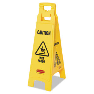 "Rubbermaid® Commercial ""Caution Wet Floor"" 4-Sided Floor Sign"