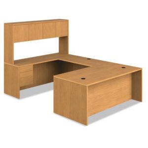 """HON® 10500 Series™ """"L"""" Workstation Single Pedestal Desk with 3/4 Height Pedestal"""