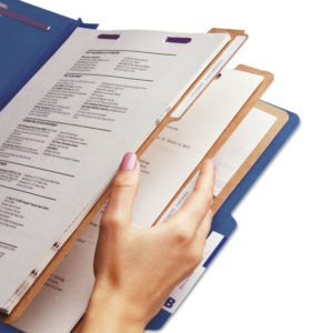 Smead® Eight-Section Colored Pressboard Top Tab Classification Folders with SafeSHIELD® Coated Fasteners