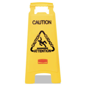 "Rubbermaid® Commercial Multilingual ""Caution"" Floor Sign"
