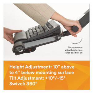 3M™ Easy Adjust Keyboard Tray with Highly Adjustable Platform