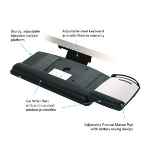 3M™ Sit/Stand Easy-Adjust Keyboard Tray with Highly Adjustable Platform