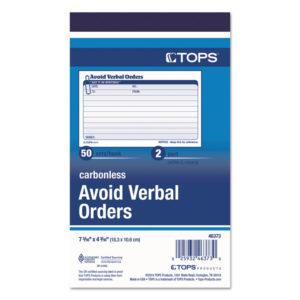 TOPS™ Avoid Verbal Orders Manifold Book