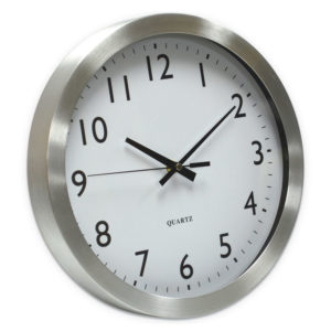 Universal® Brushed Aluminum Wall Clock