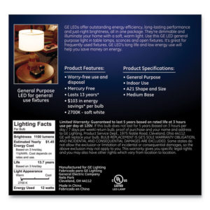 GE LED SW A21 Dimmable Light Bulb