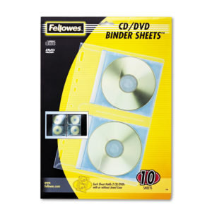 Fellowes® Vinyl CD/DVD Protector Single-Sided Sheets for Three-Ring Binders