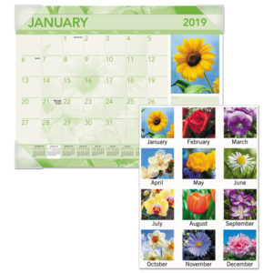 AT-A-GLANCE® Antique Floral Monthly Desk Pad Calendar