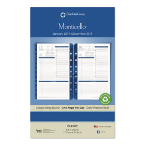 FranklinCovey® Monticello Dated One Page-per-Day Planner Refill