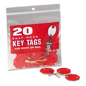 MMF Industries™ Snap-Hook Self-Locking Octagonal Key Tags