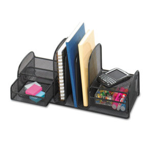 Safco® Onyx™ Mesh Desk Organizer with Three Vertical Sections/Two Baskets