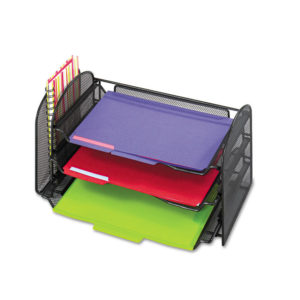 Safco® Onyx™ Mesh Desk Organizer with One Vertical/Three Horizontal Sections