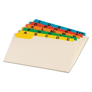 Oxford™ Manila Index Card Guides with Laminated Tabs