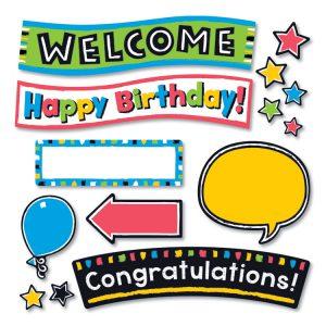 TREND® Bold Strokes Wipe-Off® Celebration Signs Bulletin Board Set